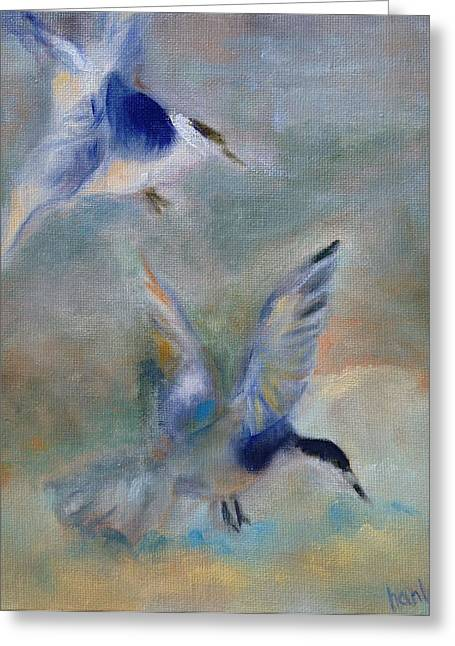 Shorebirds Greeting Card by Susan Hanlon