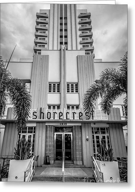 Shorecrest Hotel On South Beach Miami - Black And White Greeting Card