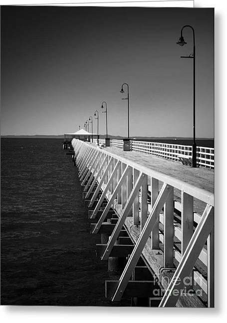 Greeting Card featuring the photograph Shorncliffe Pier In Monochrome by Peta Thames