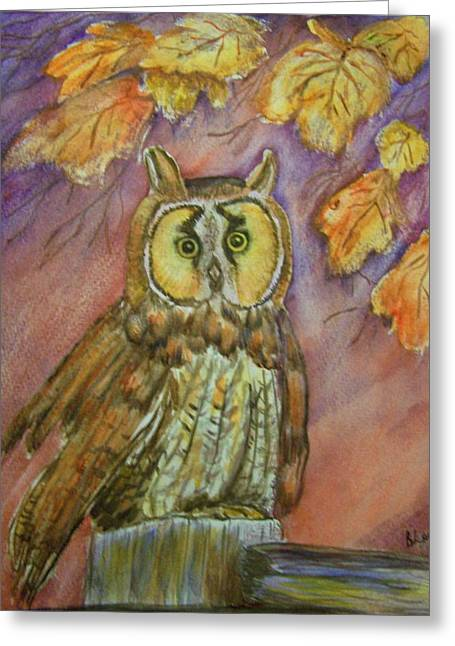 Greeting Card featuring the painting Short Eared Owl by Belinda Lawson