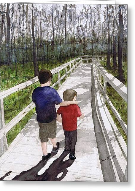 Greeting Card featuring the painting Short Walk Long Pier by June Holwell