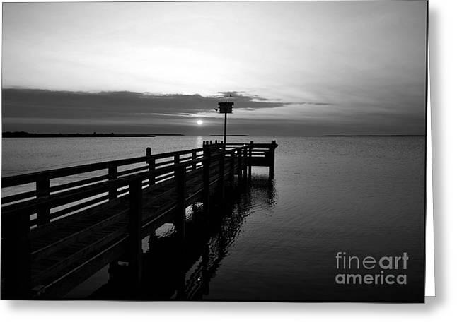 Short Walk On A Long Pier Bw Greeting Card by Mel Steinhauer