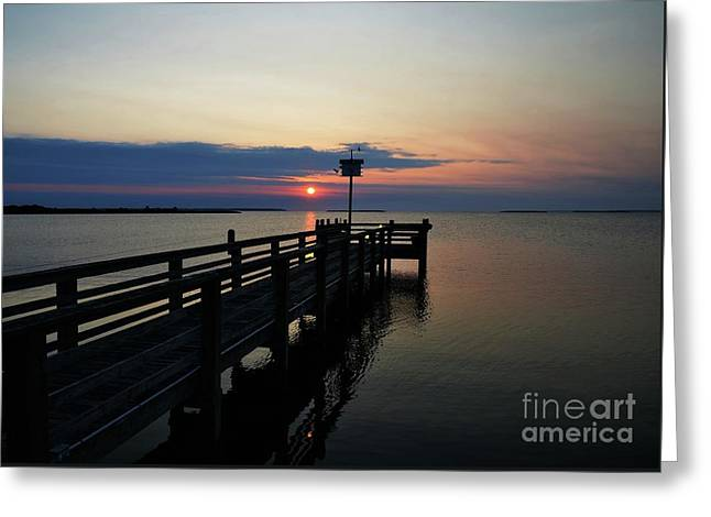 Short Walk On A Long Pier Greeting Card by Mel Steinhauer