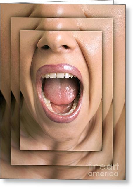 Shouting Woman Greeting Card