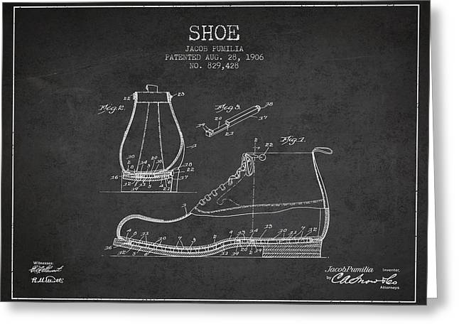 Shoe Patent From 1906 - Charcoal Greeting Card