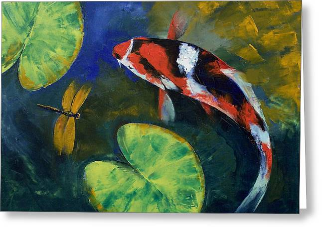 Showa Koi And Dragonfly Greeting Card by Michael Creese