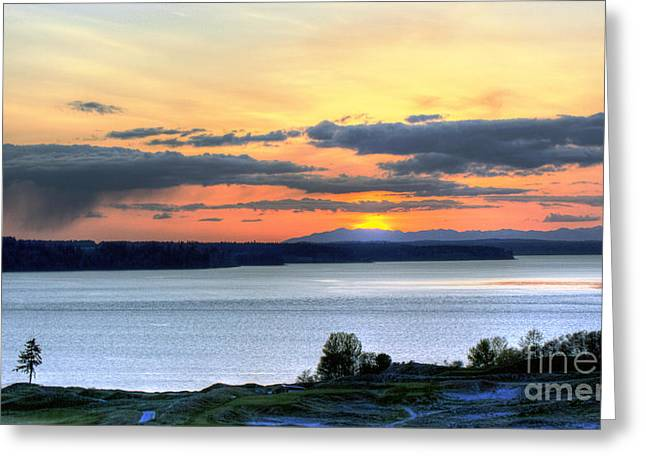 Greeting Card featuring the photograph Showers Over Mcneil Island - Chambers Bay Golf Course by Chris Anderson