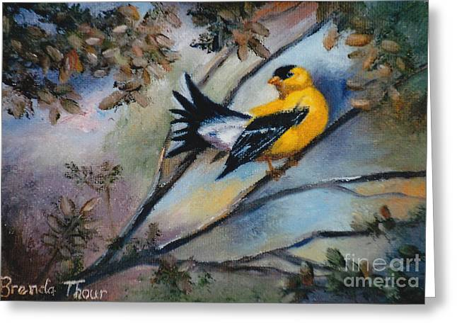Greeting Card featuring the painting Showing Off by Brenda Thour