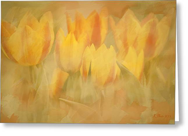 Showtime Tulips Greeting Card by Linda Blair