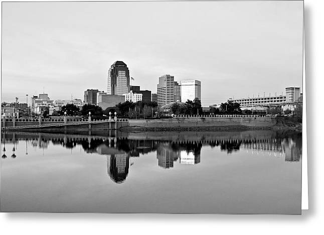 Shreveport Cityscape - Bw Greeting Card