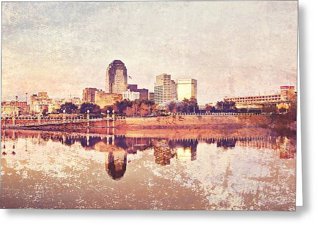 Shreveport Waterfront With Texture Greeting Card