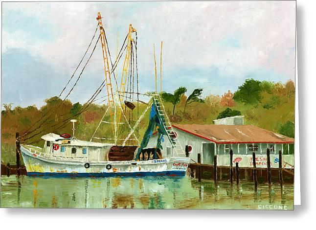 Shrimp Boat At Dock Greeting Card