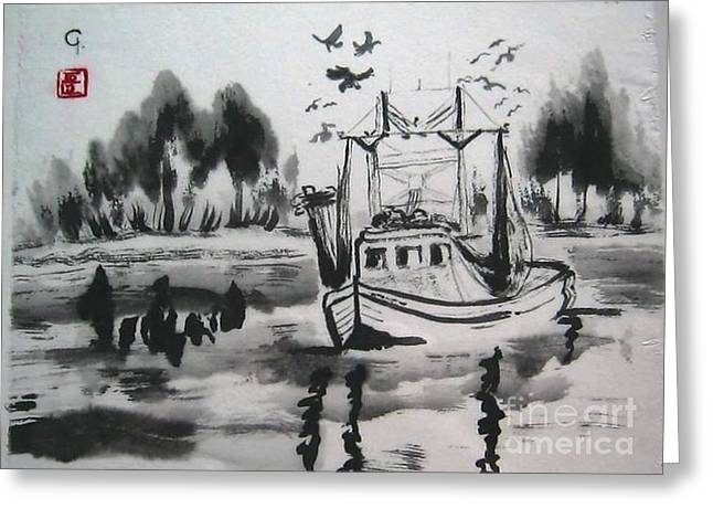 Shrimp Boat Biloxi Greeting Card by Jeanel Walker