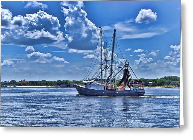 Shrimp Boat Heading To Sea Greeting Card by Ludwig Keck