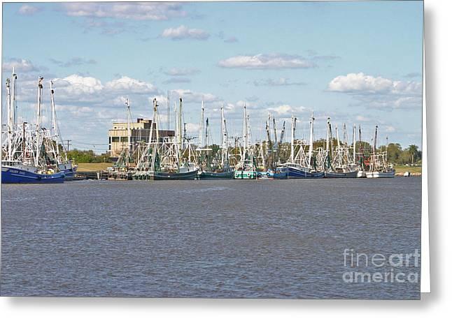 Shrimp Boats 2 Port Arthur Texas Greeting Card by D Wallace