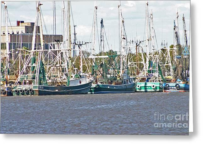 Shrimp Boats 3 Port Arthur Texas Greeting Card by D Wallace