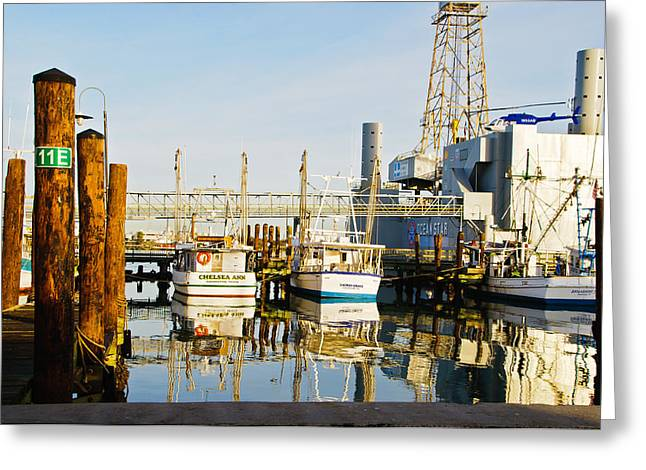 Shrimp Boats Greeting Card by John Collins