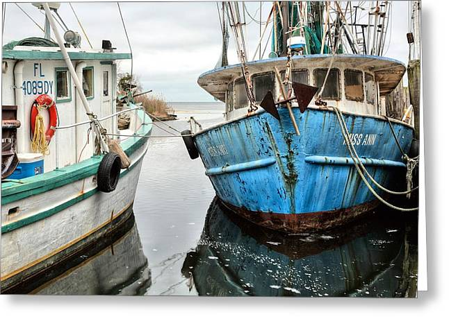 Shrimp Boats Of Pensacola Greeting Card by JC Findley