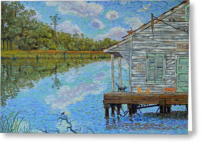 Shrimp Shack Greeting Card by Dwain Ray