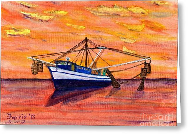 Shrimper Sunset Greeting Card by Larry Farris