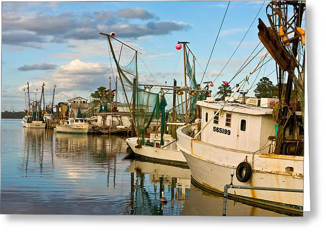 Shrimpers Cove Greeting Card by Denis Lemay