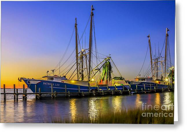 Greeting Card featuring the photograph Shrimp Boat Sunset by Paula Porterfield-Izzo