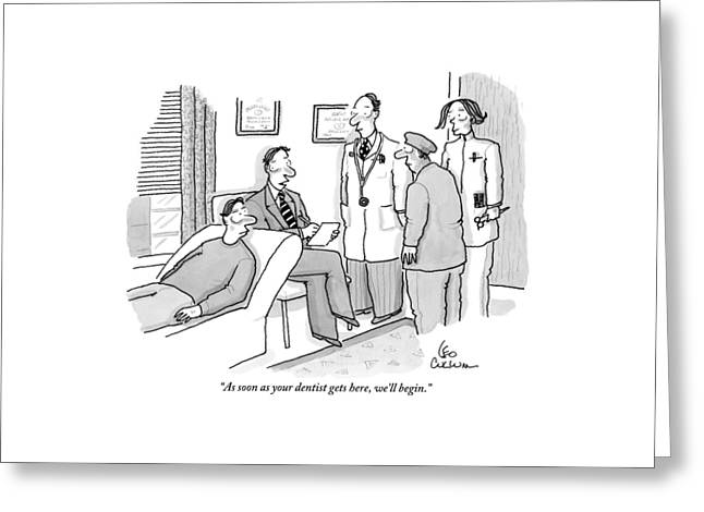 Shrink To Patient On Couch. A Doctor Greeting Card by Leo Cullum
