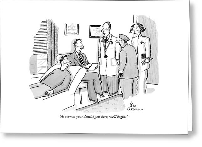 Shrink To Patient On Couch. A Doctor Greeting Card