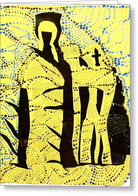 Shroud Of Jesus Greeting Card by Gloria Ssali