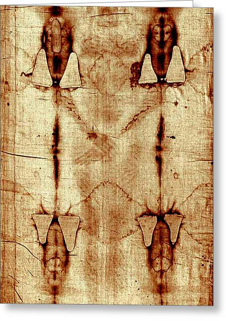 Jesus Mixed Media Greeting Cards - Shroud of Turin Greeting Card by A Samuel