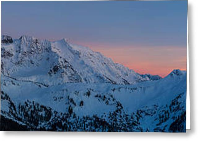 Shuksan Sunset Panorama Greeting Card by Mike Reid