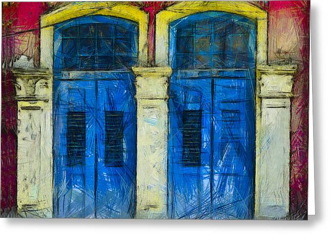 Shutter Doors In Lil India Greeting Card