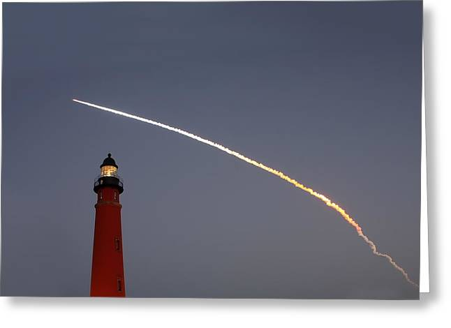 Greeting Card featuring the photograph Shuttle Discovery Liftoff Over Ponce Inlet Lighthouse by Paul Rebmann