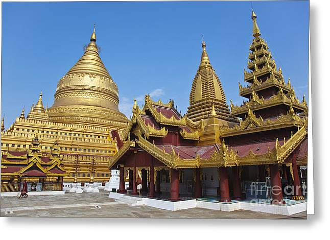 Shwezigon Pagoda Bagan Burma Greeting Card by Craig Lovell