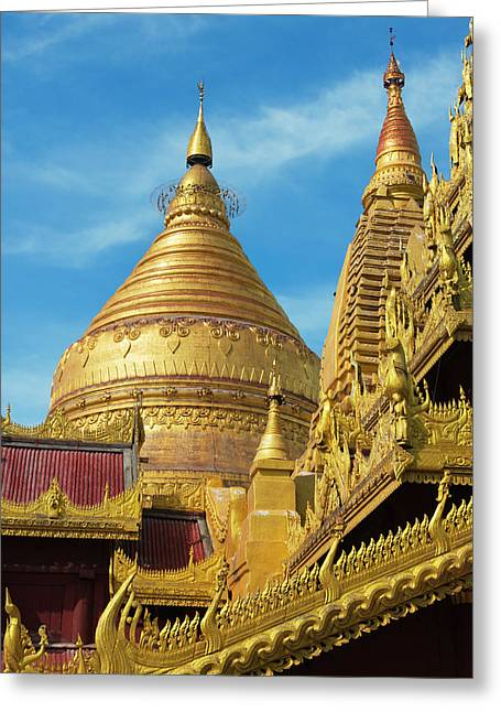 Shwezigon Pagoda, Bagan, Mandalay Greeting Card by Keren Su