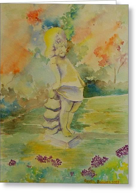 Shy Garden Angel Greeting Card