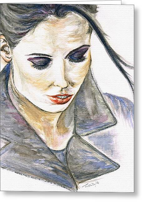 Shy Lady Greeting Card by Teresa White