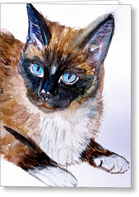 Siamese Cat Portrait Greeting Card
