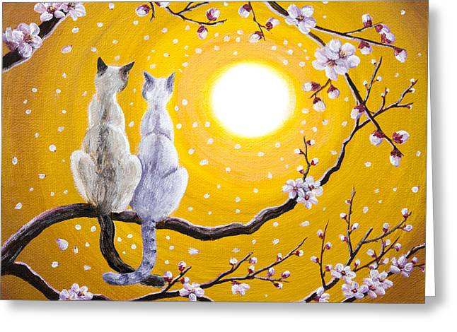 Siamese Cats Nestled In Golden Sakura Greeting Card by Laura Iverson