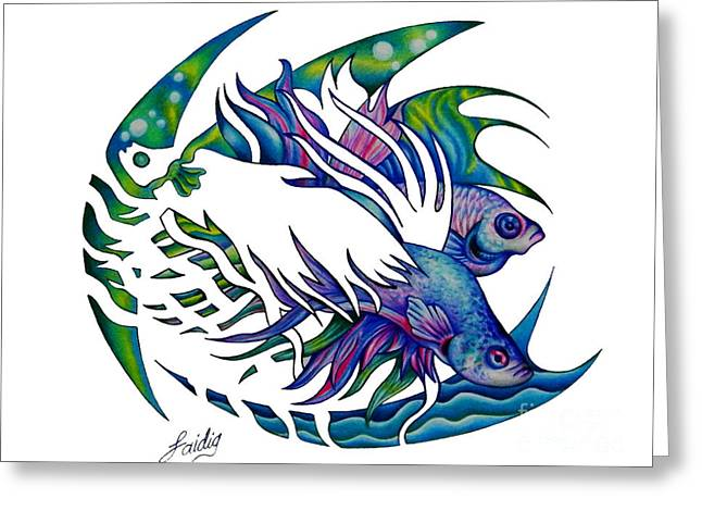 Siamese Fighting Fish Greeting Card by Aarron  Laidig
