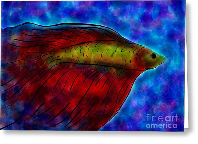 Siamese Fighting Fish II Greeting Card by Anita Lewis