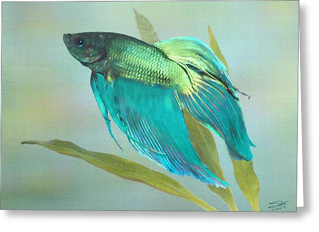 Siamese Fighting Fish Greeting Card by IM Spadecaller