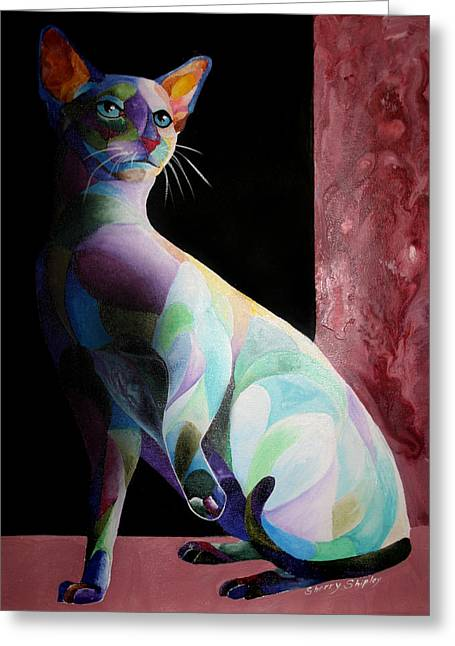 Siamese Shadow Cat 1 Greeting Card