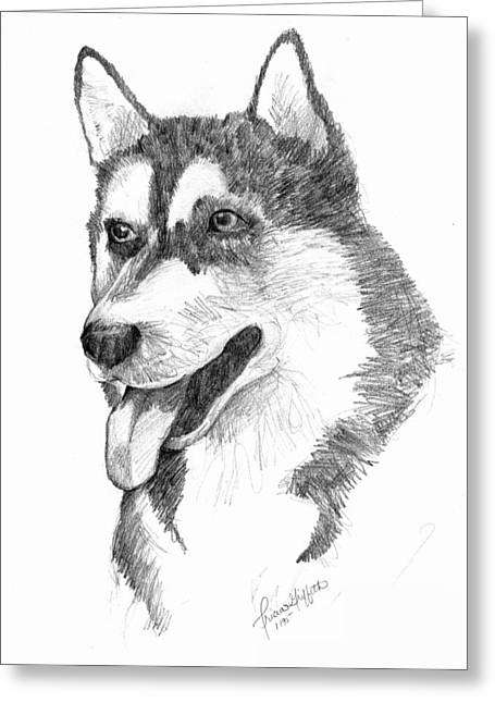 Siberian Husky Greeting Card by Tricia Griffith
