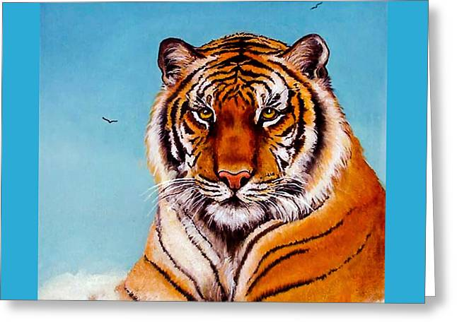 Greeting Card featuring the painting Siberian King Tiger by Bob and Nadine Johnston