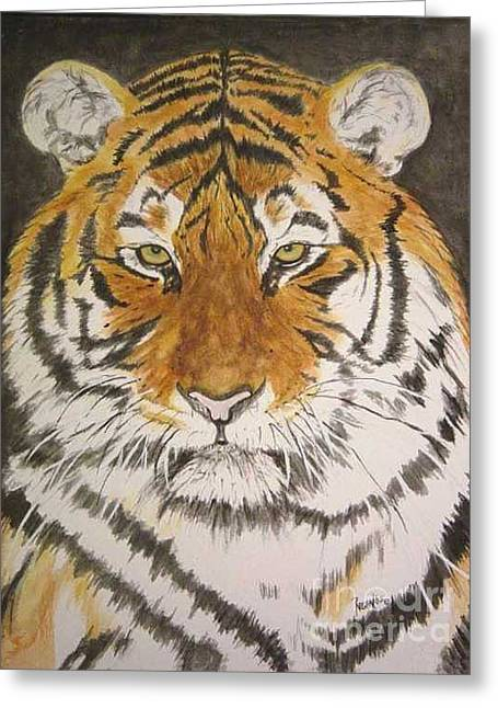 Siberian Tiger Greeting Card by Regan J Smith
