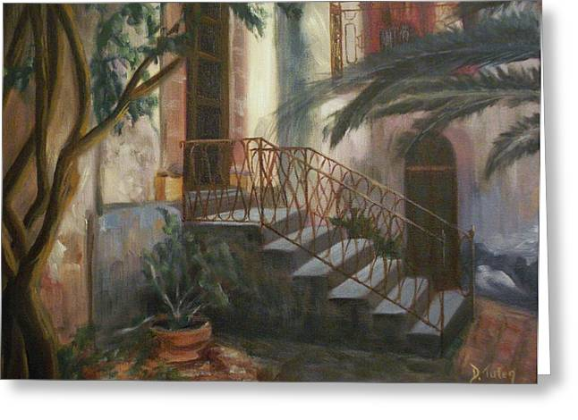 Greeting Card featuring the painting Sicilian Nunnery by Donna Tuten