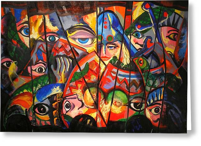 Greeting Card featuring the painting Sicilian Puppets IIi by Georg Douglas