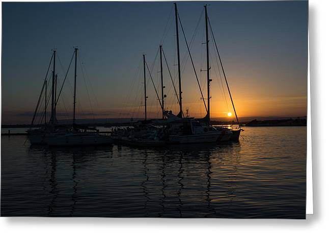 Sicilian Sunset At The Syracuse Harbour  Greeting Card by Georgia Mizuleva