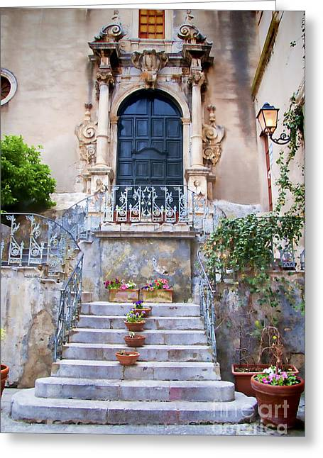 Sicilian Village Steps And Door Greeting Card by David Smith